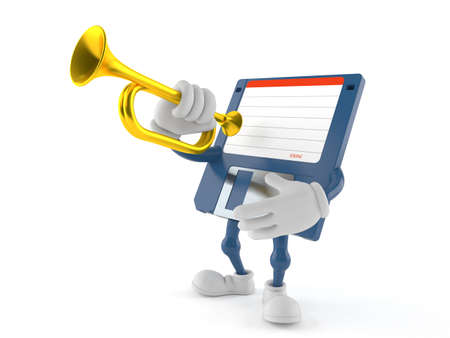 Floppy disk character playing the trumpet isolated on white background. 3d illustration Standard-Bild