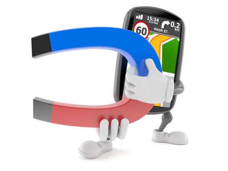 GPS navigation character holding horseshoe magnet isolated on white background. 3d illustration