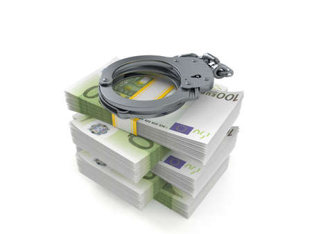Handcuffs on stack of money isolated on white background. 3d illustration