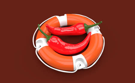 Hot chili pepper inside life buoy isolated on red background. 3d illustration Standard-Bild - 151216723