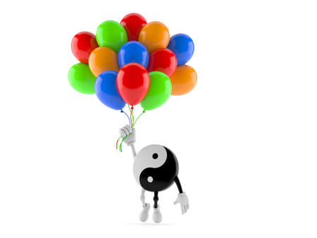 Jing Jang character flying with balloons isolated on white background. 3d illustration Standard-Bild