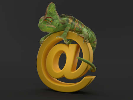 Chameleon climbs on cursor on grey background. 3d illustration Standard-Bild - 151216725
