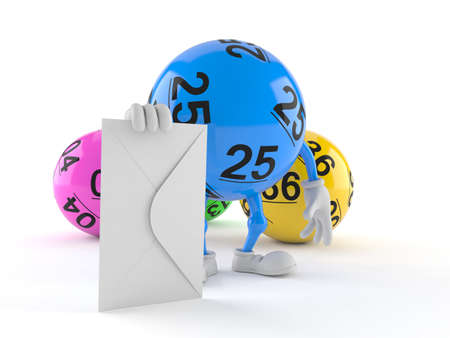 Lotto ball character with envelope isolated on white background. 3d illustration