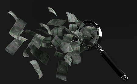 Polish currency flying out through the magnifying glass on grey background. 3d illustration