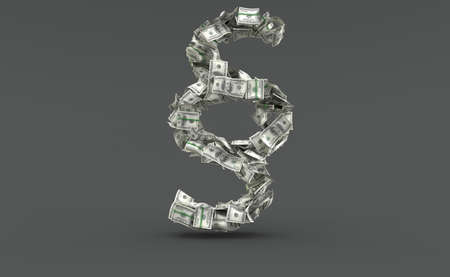 Dollar currency in paragraph symbol shape isolated on grey background. 3d illustration Standard-Bild - 151216730