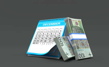 Polish currency with calendar isolated on grey background. 3d illustration Standard-Bild - 151216692