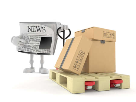 Newspaper character with hand pallet truck with cardboard boxes isolated on white background. 3d illustration