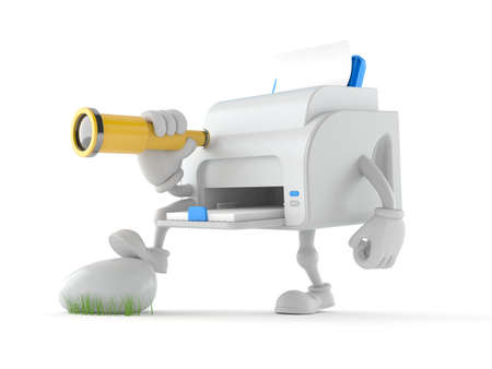 Printer character looking through a telescope isolated on white background. 3d illustration Standard-Bild
