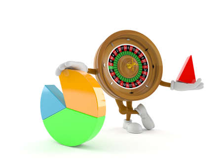 Roulette character with pie chart isolated on white background. 3d illustration
