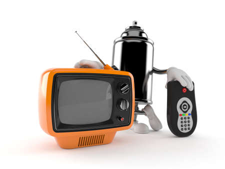 Spray can character with tv set and remote isolated on white background. 3d illustration Standard-Bild