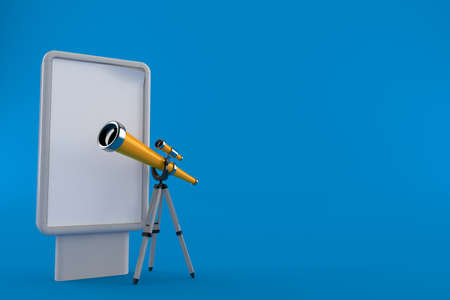 Telescope with blank billboard isolated on blue background. 3d illustration Standard-Bild