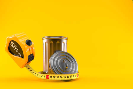Trash can with measuring tape isolated on orange background. 3d illustration Standard-Bild