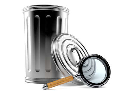 Trash can with magnifying glass isolated on white background. 3d illustration Standard-Bild - 151216710