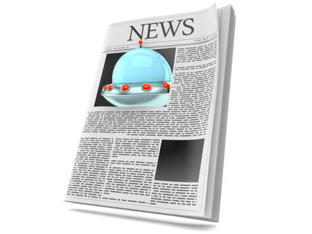 UFO inside newspaper isolated on white background. 3d illustration Standard-Bild