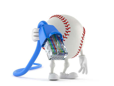 Baseball character holding network cable isolated on white background. 3d illustration