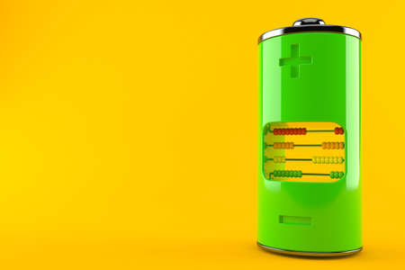 Green battery with abacus isolated on orange background. 3d illustration
