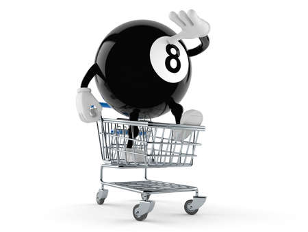 Eight ball character inside shopping cart isolated on white background. 3d illustration Standard-Bild - 151216680