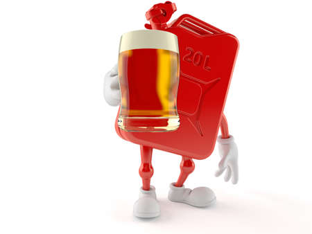 Petrol canister character holding beer glass isolated on white background. 3d illustration