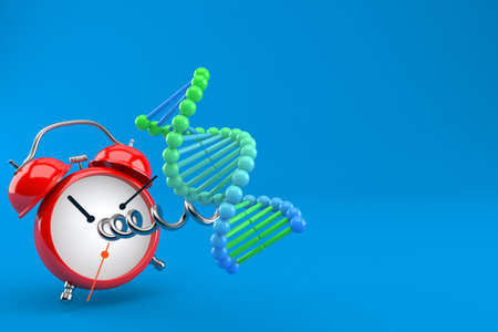 DNA with alarm clock isolated on blue background. 3d illustration Standard-Bild - 151216687