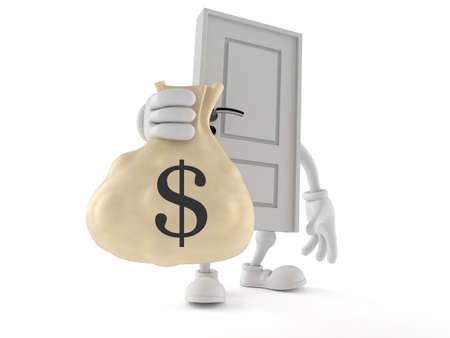 Door character holding money bag isolated on white background. 3d illustration