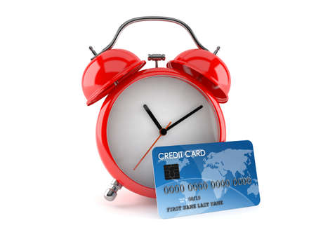 Alarm clock with credit card isolated on white background. 3d illustration 免版税图像