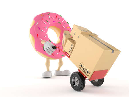 Donut character with hand truck isolated on white background. 3d illustration