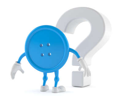 Button character looking at question mark symbol isolated on white background. 3d illustration