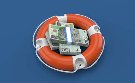 Polish currency inside life buoy isolated on blue background. 3d illustration