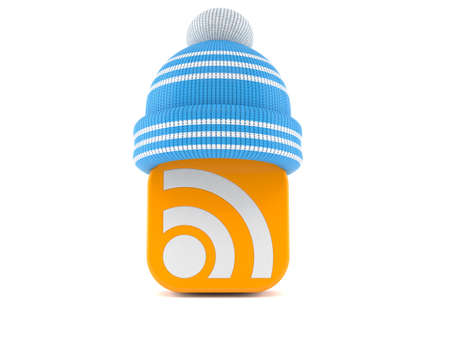 RSS icon with winter hat isolated on white background. 3d illustration