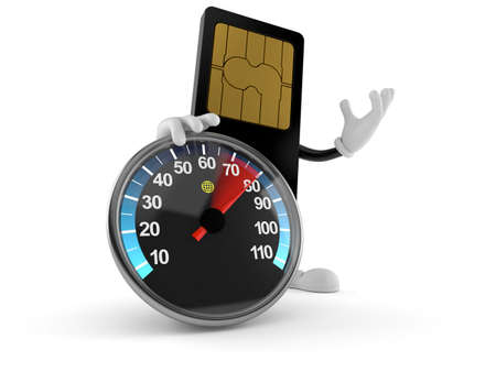SIM card character with speed meter isolated on white background. 3d illustration 免版税图像