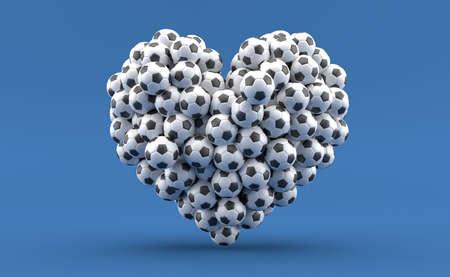 Heart symbol made of dice on blue background. 3d illustration