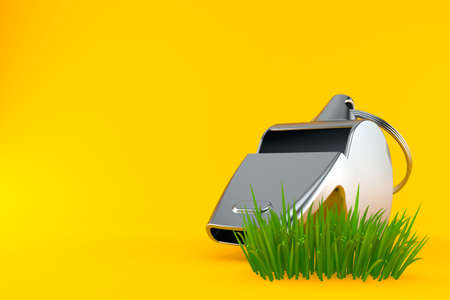 Whistle on grass isolated on orange background. 3d illustration Zdjęcie Seryjne