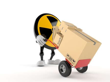 Radioactive character with hand truck isolated on white background. 3d illustration