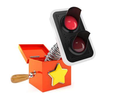 Red traffic light inside jack in the box isolated on white background. 3d illustration Standard-Bild