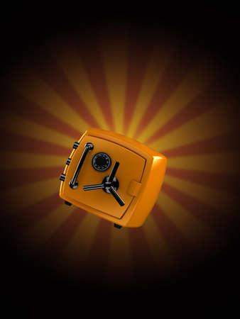 Orange safe on rays background. 3d illustration