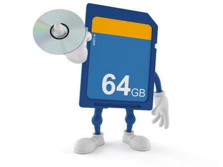 SD card character holding cd disc isolated on white background. 3d illustration Standard-Bild