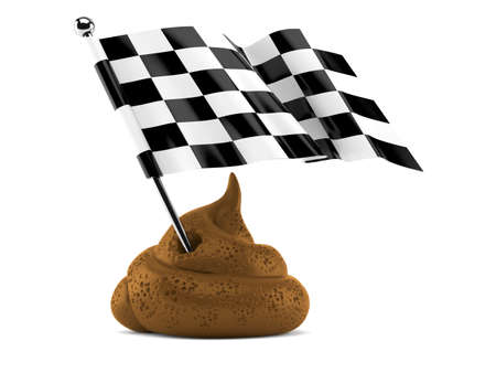 Dung poo with race flag isolated on white background. 3d illustration Standard-Bild