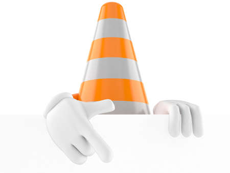 Traffic cone character pointing finger isolated on white background. 3d illustration