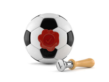 Soccer ball with wax seal stamp isolated on white background. 3d illustration