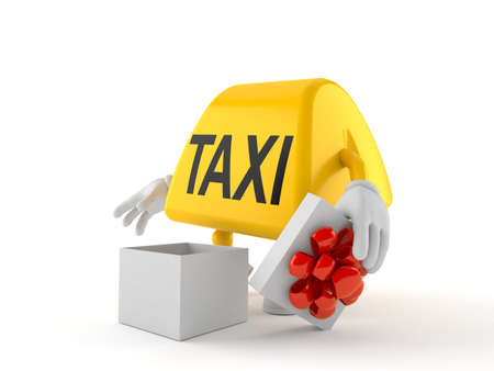 Taxi character with open gift isolated on white background. 3d illustration