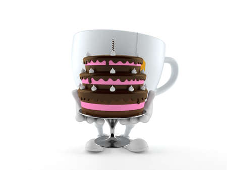 Tea cup character holding cake isolated on white background. 3d illustration
