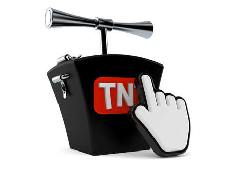 TNT detonator with web cursor isolated on white background. 3d illustration Standard-Bild
