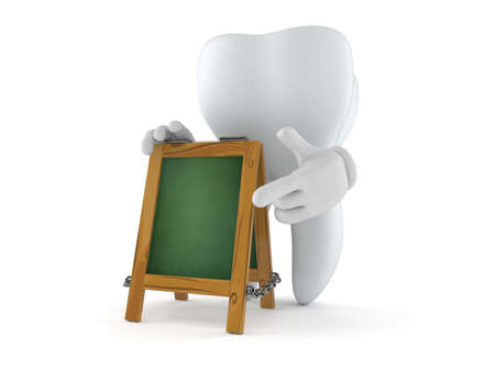Tooth character with chalk signboard isolated on white background. 3d illustration