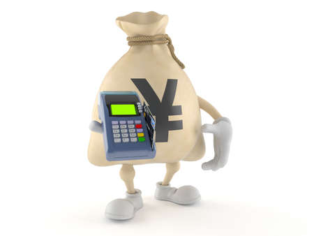 Yen money bag character holding credit card reader isolated on white background. 3d illustration