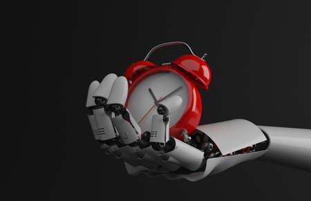Alarm clock on robot hand isolated on white background. 3d illustration