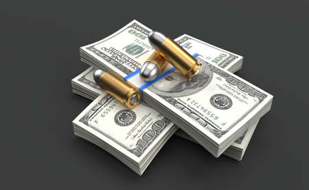 Ammunition lying on dollar currency isolated on grey background. 3d illustration