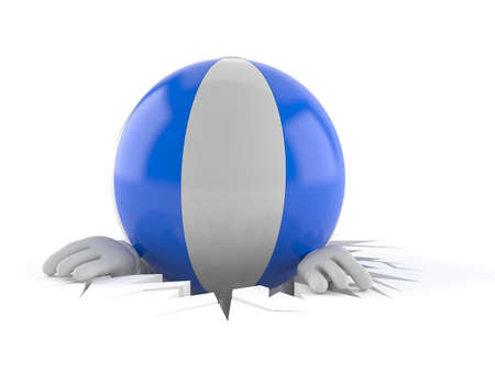 Beach ball character inside hole isolated on white background. 3d illustration