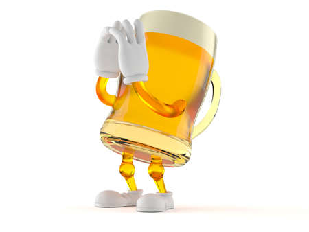Beer character shouting isolated on white background. 3d illustration