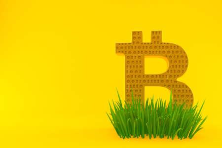 Bitcoin symbol on grass isolated on orange background. 3d illustration Standard-Bild