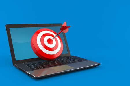 Bull's eye with laptop isolated on blue background. 3d illustration